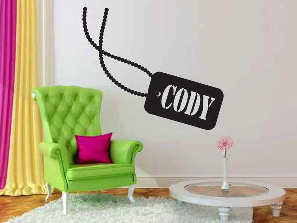 Personalized Custom Name In Dog Tags Vinyl Wall Words Decal Sticker  - 1