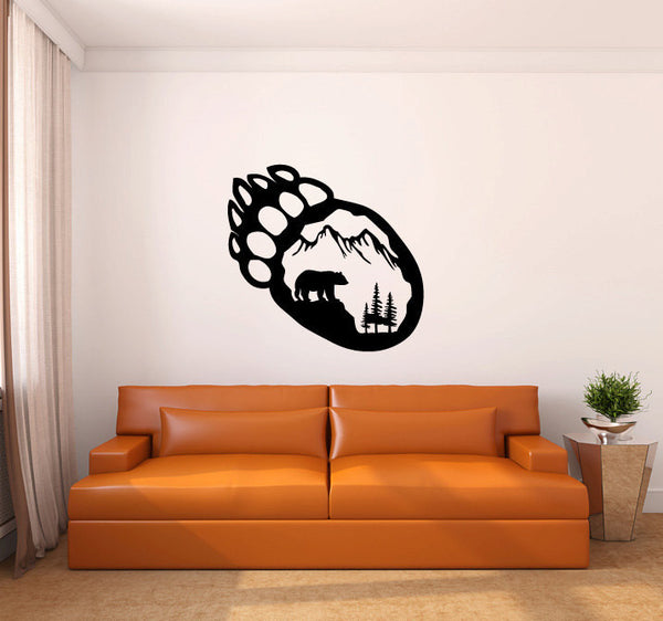 Bear Paw Print With Pine Trees and Mountain Vinyl Wall Decal Sticker Graphic  - 1