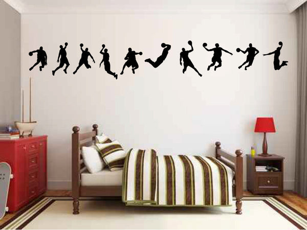 Basketball Player Silhouettes Vinyl Wall Decal Sticker Graphic - Wall Decal