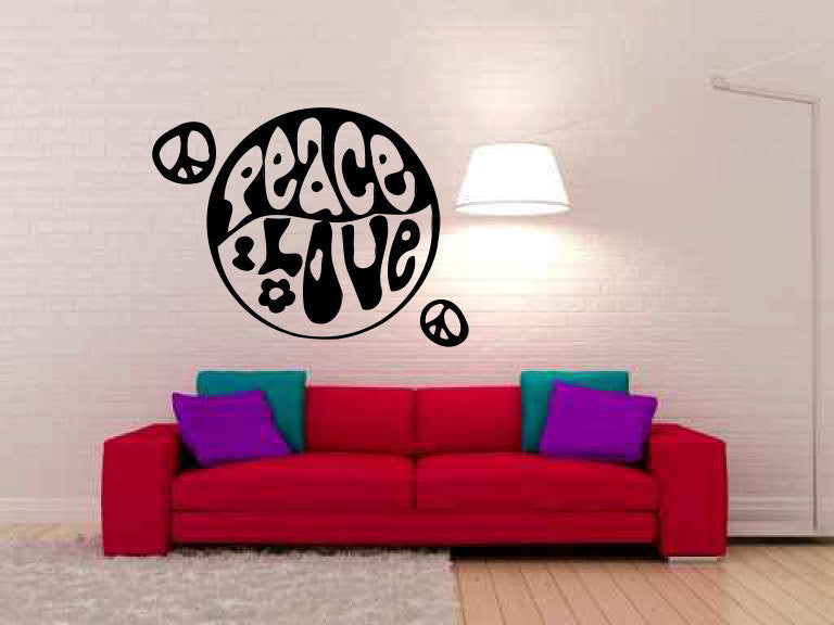 Peace Love Vinyl Wall Decal Sticker Graphic  - 1