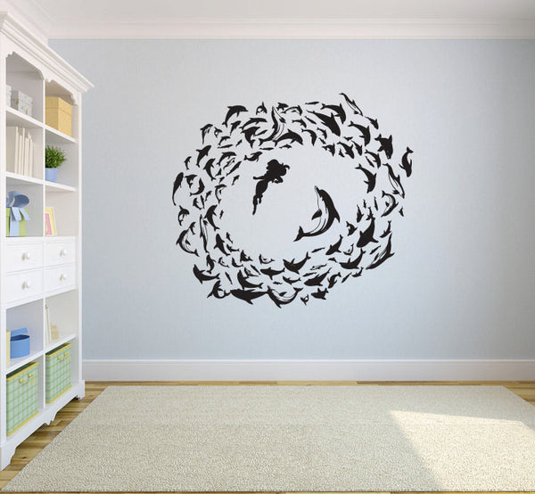Swimming With Dolphins Vinyl Wall Decal Sticker Graphic  - 1
