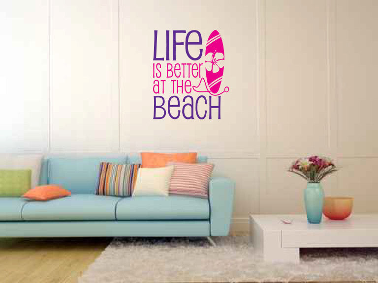 Life is Better at the Beach Vinyl Wall Words Decal Sticker  - 1