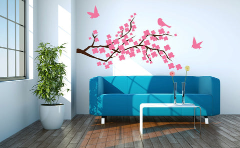 Cherry Blossom Branch with Birds Vinyl Wall Decal Sticker  - 1