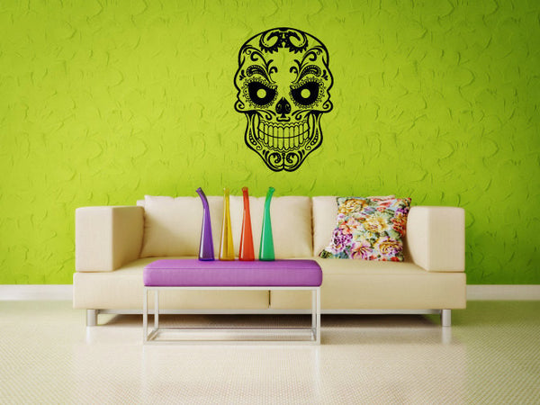 Sugar Skull Vinyl Wall Decal Sticker Graphic  - 1