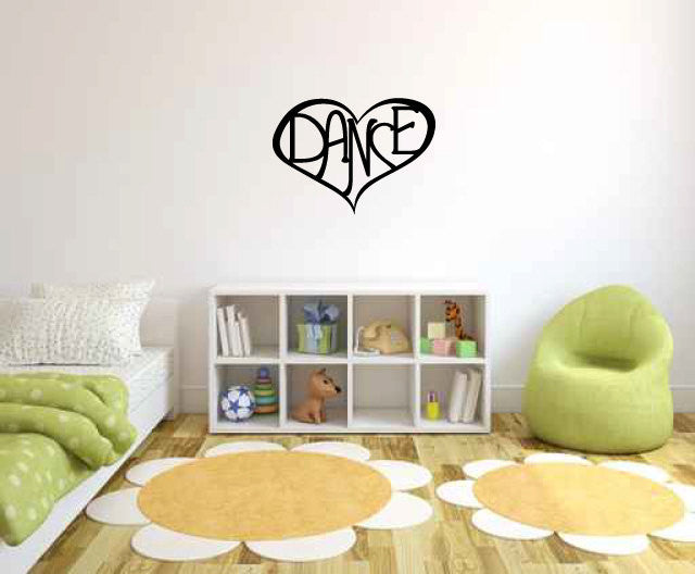 Dance Heart Vinyl Wall Words Decal Sticker Graphic  - 1