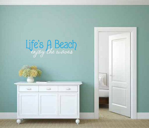 Life's a Beach Enjoy the Waves Vinyl Wall Words Decal Sticker Graphic  - 1