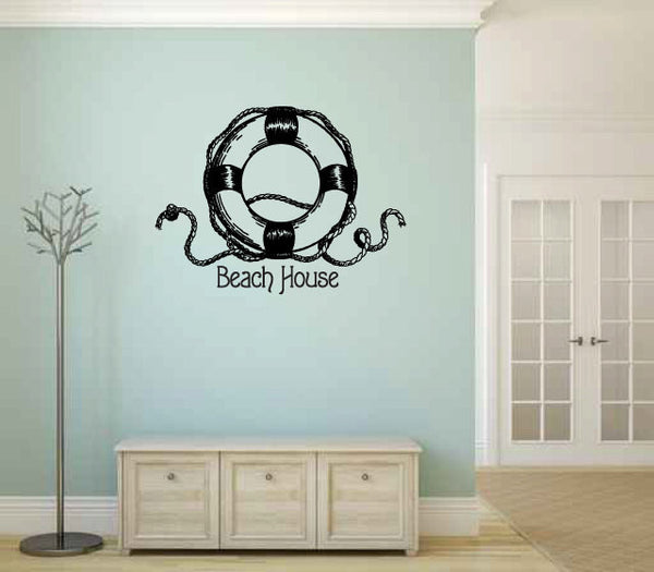 Beach House with Life Ring Vinyl Wall Words Decal Sticker Graphic - Wall Decal