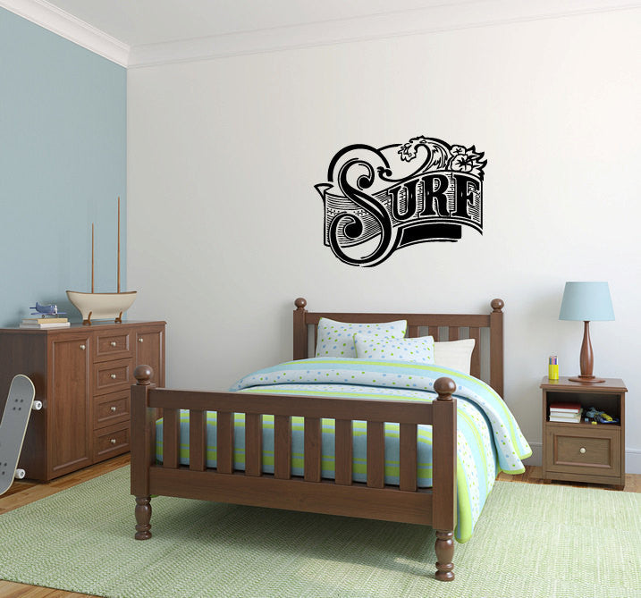 Surf Vinyl Wall Words Decal Sticker Graphic  - 1