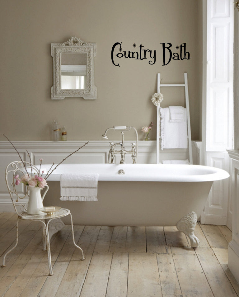 Country Bath Wall Words Decal Sticker Graphic  - 1