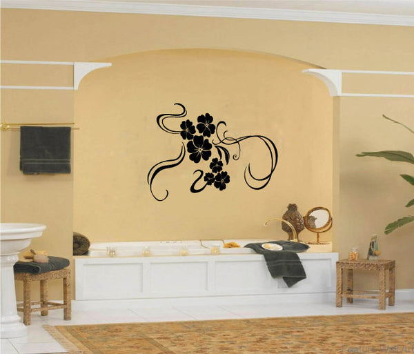 Hibiscus Flowers and Swirls Vinyl Wall Words Decal Sticker Graphic  - 1