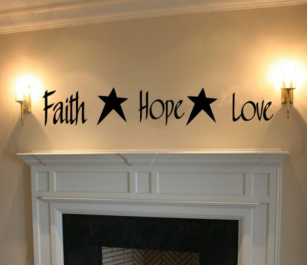 Faith Hope Love Vinyl Wall Words Decal Sticker Graphic  - 1