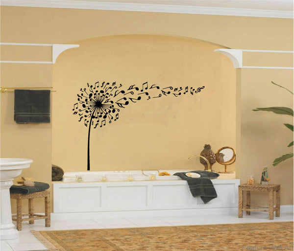 Dandelion and Music Notes Vinyl Wall Words Decal Sticker Graphic  - 1