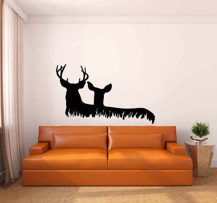 Deer and Grass Vinyl Wall Words Decal Sticker Graphic  - 1