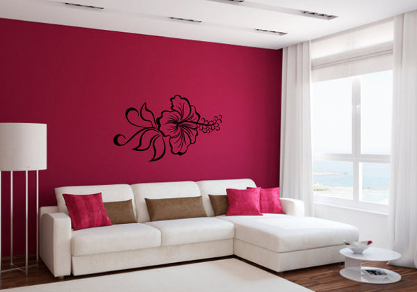 Hibiscus Flower and Swirls Vinyl Wall Words Decal Sticker Graphic  - 1