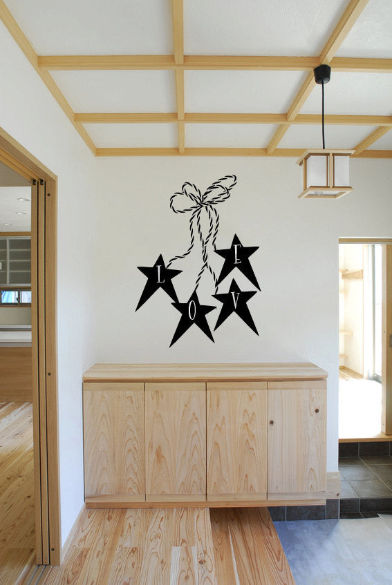 Love with Primitive Stars and Twine Vinyl Wall Words Decal Sticker Graphic  - 1