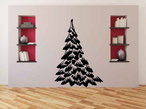 Snowy Pine Tree Vinyl Wall Words Decal Sticker Graphic  - 1