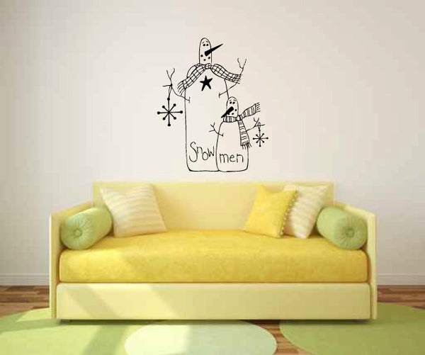Country Primitive Snowman Vinyl Wall Decal Sticker Graphic  - 1