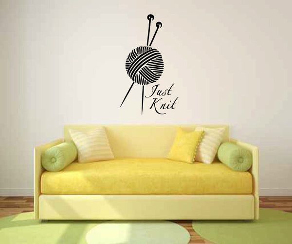 Just Knit Vinyl Wall Words Decal Sticker Graphic  - 1