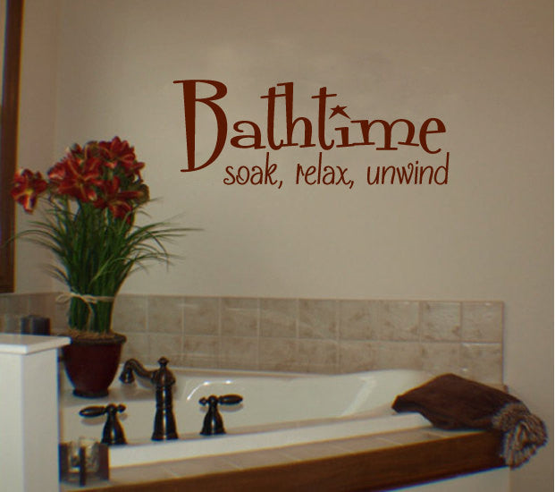 Bathtime Soak Relax Unwind Vinyl Wall Words Decal Sticker Graphic - Wall Decal