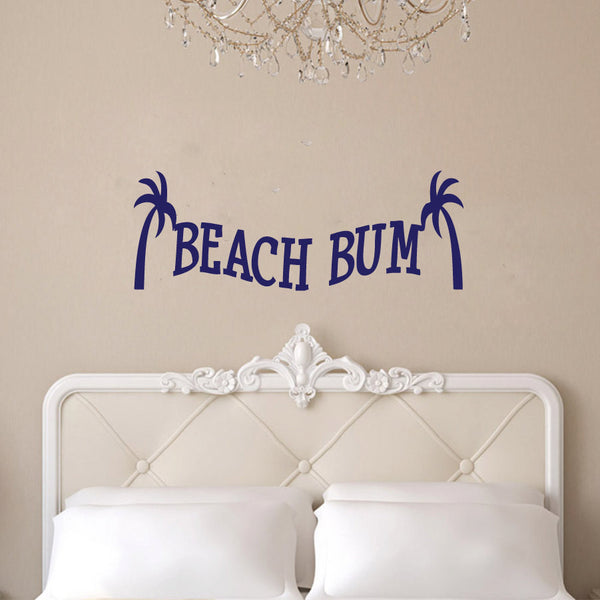 Beach Bum with Palm Trees Vinyl Wall Words Decal Sticker Graphic - Wall Decal