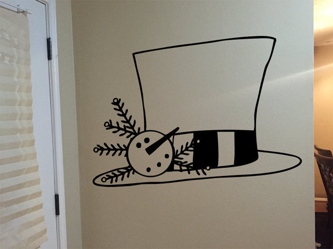 Country Primitive Snowman Top Hat Vinyl Wall Decal Sticker Graphic  - 1