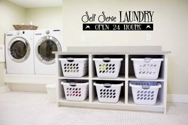 Self Serve Laundry Vinyl Wall Words Decal Sticker Graphic  - 1