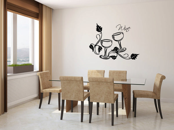 Wine Glasses and Grapevines Vinyl Wall Words Decal Sticker Graphic  - 1