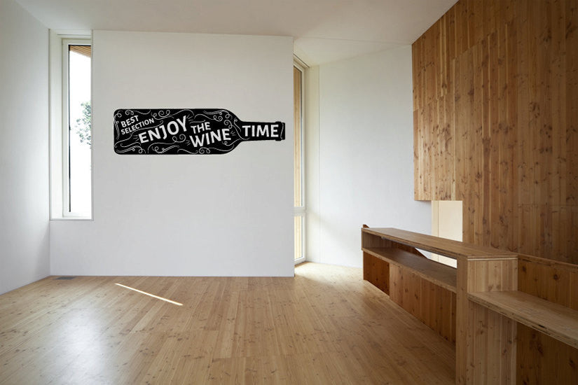 Enjoy the Wine Time Bottle Vinyl Wall Words Decal Sticker Graphic  - 1