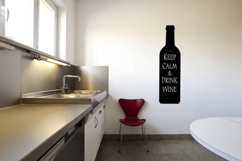 Keep Calm and Drink Wine Bottle Vinyl Wall Words Decal Sticker Graphic  - 1