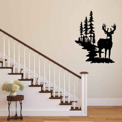 Deer and Pine Trees Vinyl Wall Decal Sticker Graphic  - 1