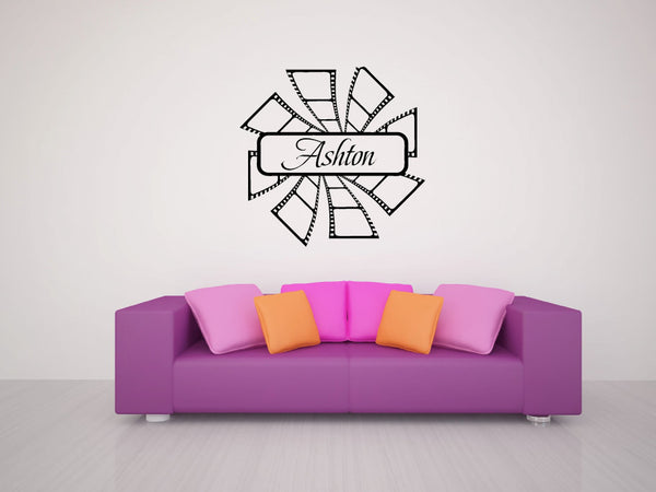 Custom Name with Movie Film Strips Vinyl Wall Decal Sticker Graphic  - 1