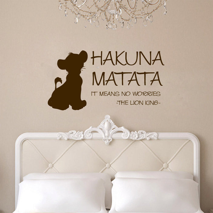 Hakuna Matata with Simba Vinyl Wall Words Decal Sticker Graphic  - 1