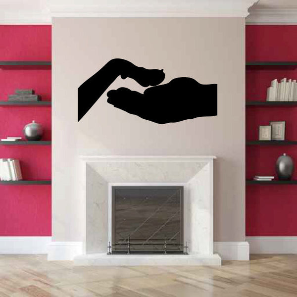 Hand and Dog Paw Silhouette Vinyl Wall Decal Sticker Graphic  - 1