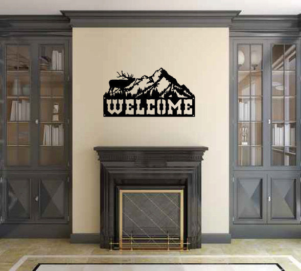 Welcome Sign with Elk and Mountains Vinyl Wall Decal Sticker Graphic  - 1