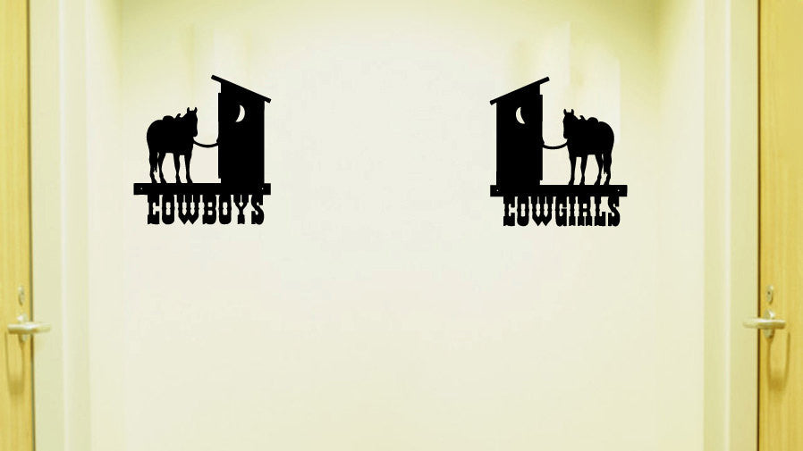 Cowboys and Cowgirls Bathroom Vinyl Wall Words Decal Sticker Graphic  - 1