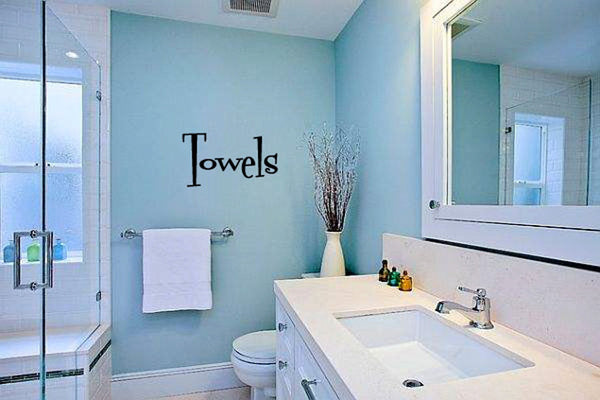 Towels Bathroom Vinyl Wall Words Decal Sticker Graphic  - 1