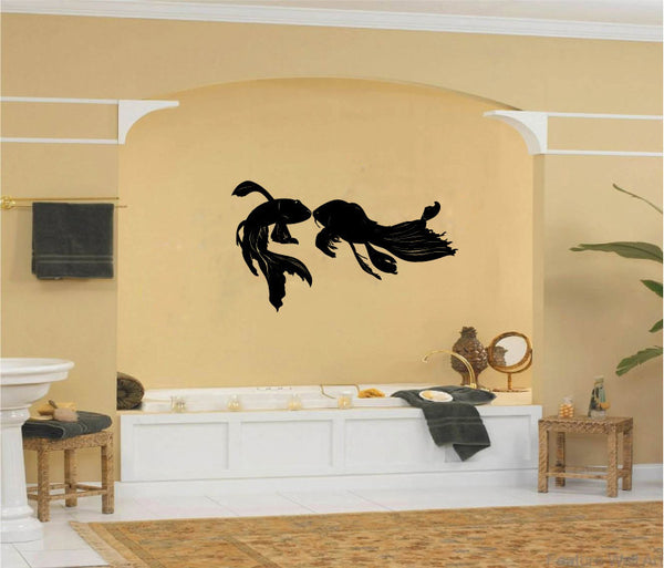 Japanese Goldfish Carp Silhouette Vinyl Wall Words Decal Sticker Graphic  - 1