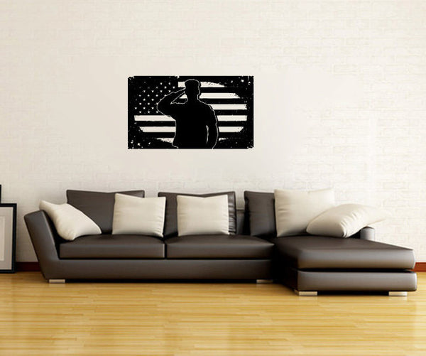 Soldier Salute Silhouette with Grunge American Flag Vinyl Wall Decal Sticker Graphic  - 1