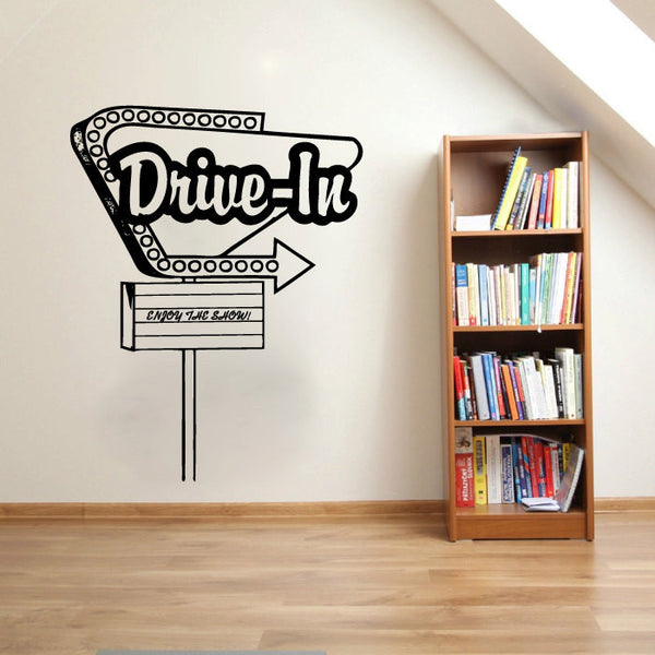 Drive-In Movie Theater Vintage Sign Vinyl Wall Words Decal Sticker Graphic  - 1