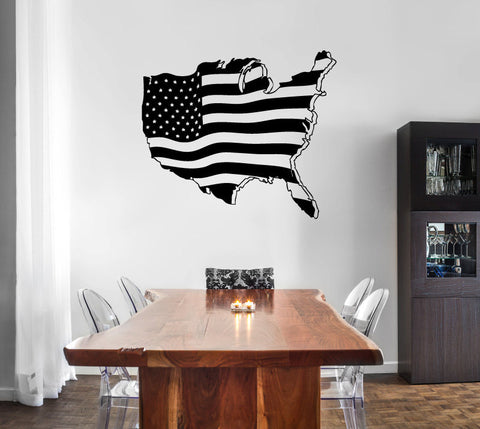 USA United States Map Silhouette with Flag Stars and Stripes Vinyl Wall Decal Sticker Graphic  - 1