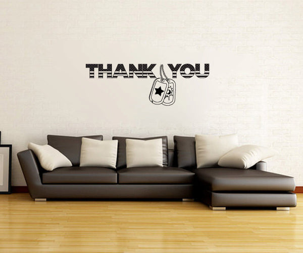 Thank You Stars & Stripes with Dog Tags Vinyl Wall Words Decal  - 1