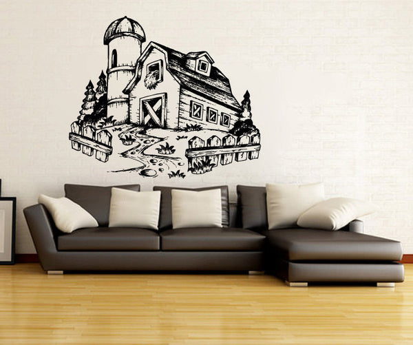 Farm Barn with Silo Vinyl Wall Mural Decal Sticker Graphic  - 1