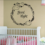 Good Night Wreath with Clouds Moon and Stars Vinyl Wall Decal Sticker Graphic  - 1