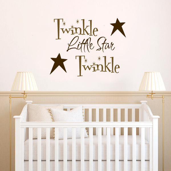 Twinkle Twinkle Little Star with Primitive Stars Vinyl Wall Words Decal Sticker Graphic - Oakwood Decals - 1