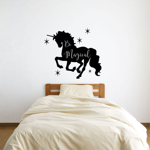 Be Magical Unicorn Silhouette Vinyl Wall Words Decal Sticker Graphic