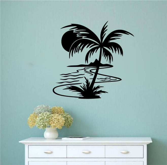 palm tree and sun wall decal