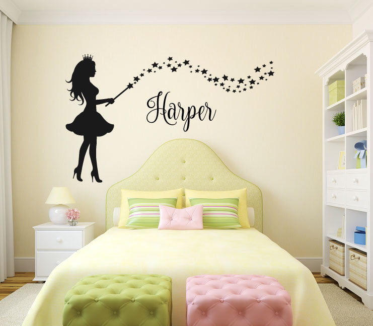 fairy monogram name wall decal