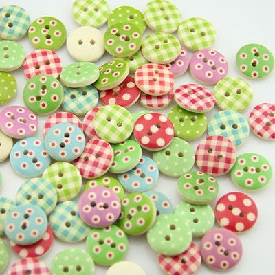 Random  Mixed color print 15mm Round Wood Buttons (25pack)