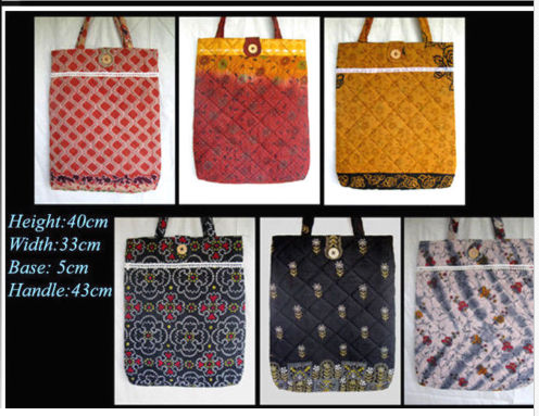 Magazine/Tote Bag with long handle India Made Different Sari Color