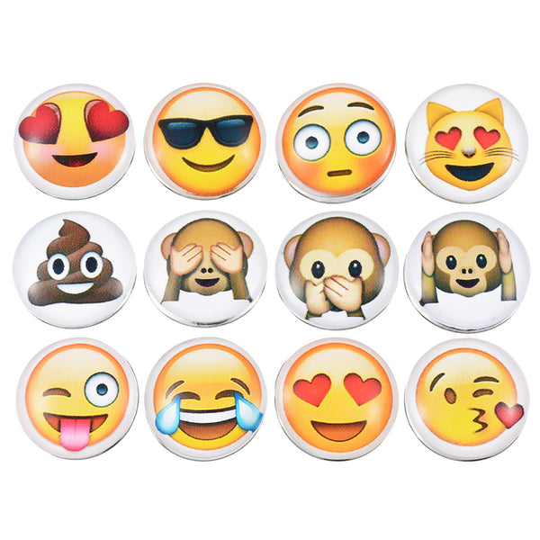 Snap Fit Mixed Emoji Face Bracelets. 18mm Snap, 12pcs Mixed Color